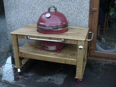 Thank you to Ray who created his own table to hold his Komado Joe oven, finished with Fiddes Exterior High build Oil www. Kamado Joe, Kitchen Cart, Grilling Recipes, Bbq, Table, Porch, Projects, Oven, Exterior