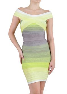 Off the Shoulder Ombre Bandage Dress