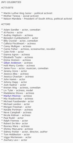 Famous INFJs. Wait, I'm like Mother Theresa, Viggo Mortnesen, Johnny Depp, MLK, Tom Hiddleston, and Benedict Cumberbatch? Get out... #INFJ #MBTI