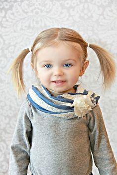 Infinity Toddler Scarf in light blue / ivory lace print - Baby Scarf - Child Scarf - Cowl - Toddler Circle Scarf. $15.00, via Etsy.