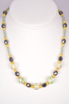 17 Inch Necklace Venetian Glass Czech Glass by FiveLeavesFound, $32.00