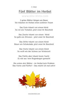 "Fingerspiel Herbst ""Fünf Blätter im Herbst"" Kita-Kiste - Todo sobre el jardín de infantes"