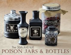 When you're setting up the decor for a Halloween Party, whether it's a small gathering or an epic super fest, a display with Halloween Bottles cannot be lacking. Apothecary Jars add a … Halloween Apothecary, Halloween Potions, Halloween Bottles, Spooky Halloween, Halloween Crafts, Halloween Ideas, Halloween Party, Halloween Stuff, Apothecary Jars