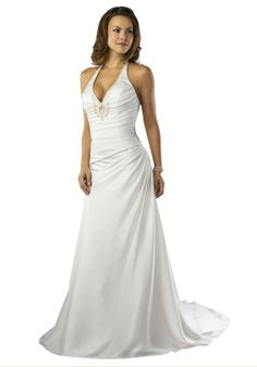 Chiffon Halter Chapel Train Empire Wedding Dress with beaded