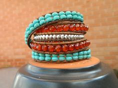 Leather Wrap With Turquoise Carnelian and by CrystalFascination, $65.00