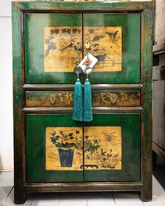 Stacked Emerald Green Hand Painted Restored Chinese Cabinet. #nookdeco #furniture #asianart #interiordesign #interiors #restoredfurniture #homedecor #homestyle #furnitureshopping