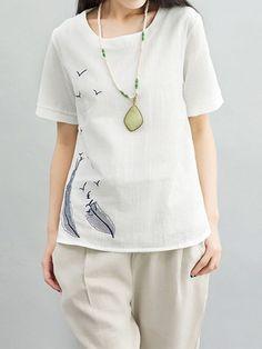 T-shirt woman#8217;s body casual women brief bird embroidery short sleeve cotton linen t-shirt #baby #girl #t #shirts #india #catwoman #t #shirt #t #shirt #short #girl #womens #polo #t #shirts #v #neck