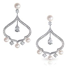 Modern Fabergé Zhivago Cupola Diamond and Pearl earrings (Saisons Russes - Winter)