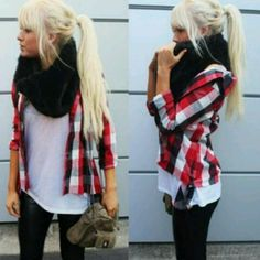 Scarf with plaid shirt, tights and white tee. This would be cuter with an oversized flannel.