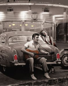 """Legendary Crossroads"" by Chris Consani - great vintage look with Elvis and Marilyn #artprint"