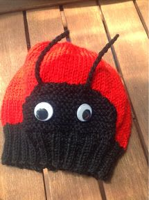 Ladybird Hat - Knitting Pattern (free). Super cute spots on the back of the hat.