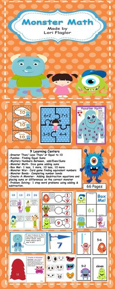 Your little monsters will love playing  these 9 learning centers.
