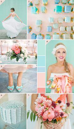 Aqua, mint, coral & peach wedding inspiration board  Best Day Ever