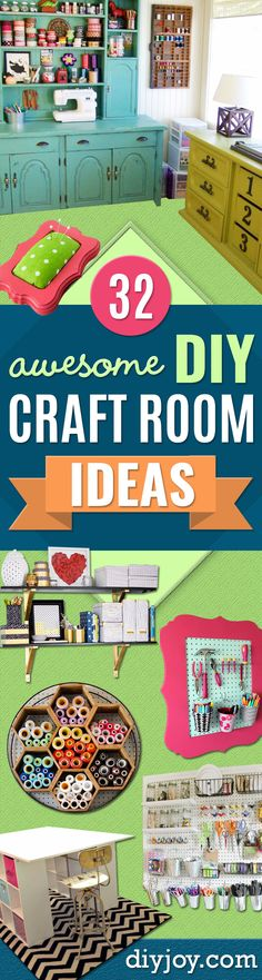 32 DIY Ideas To Make Your A Reality Martina Nähen/Ordnung DIY Craft Room Ideas and Craft Room Organization Projects - Cool Ideas for Do It Yourself Craft Storage, Craft Room Decor and Organizing Project Ideas - fabric, pap Craft Room Decor, Craft Room Storage, Diy Storage, Decor Crafts, Craft Rooms, Tool Storage, Storage Ideas, Paper Storage, Fabric Storage