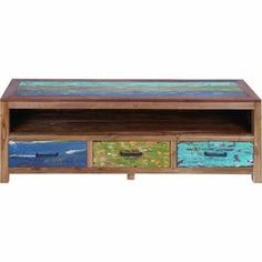 "3-drawer wood media console with a distressed multicolor finish.   Product: Media consoleConstruction Material: WoodColor: MultiFeatures:  Rugged finishThree drawers Dimensions: 22"" H x 63"" W x 15"" D"