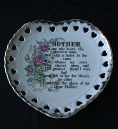 Vintage Decorative Wall Plate MOTHER Heart Shaped Gold Trimmed ...