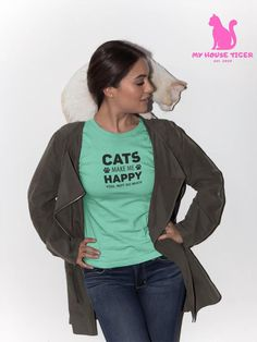 Sometimes yes 😹  Available in different colors 😺  Free shipping! 😻 Cat Tattoo, Cat Shirts, Cat Breeds, Cat Memes, Make Me Happy, Funny Tshirts, Funny Cats, Bomber Jacket, Free Shipping
