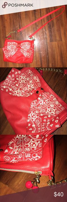 Red Betsey Johnson Crossbody Bag Crossbody bag with large bandana print bow | Chain & strap | Cherry zipper pull | Only used once Betsey Johnson Bags Crossbody Bags