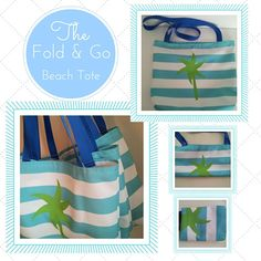 Fold & Go Beach Tote Bag - Preppy Palm Stripes Seafoam Kiwi Beach Bag, Eco Canvas, Ready t... $26.75