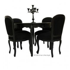 "Cherise 48"" Round Dining Table & 4 Chairs - Black"