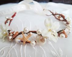 Mermaid's Tiara-Wedding Hair Accessory-Sea Shell Flower Crown-Beach Wedding Hair Crown-Crown of Shells