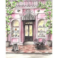 French Patisserie Watercolor Print, French Bakery, Paris Cafe, 5x7, 8x10, 11x14, 13x19, Watercolor Art, Watercolor Painting, Wall Art, Decor