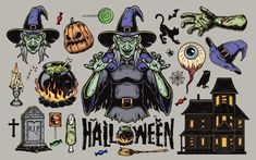 Colorful Halloween vector illustrations with Witches, candies, zombies' hands, a black cat, a ghost house, etc. Download 21 Spooky Halloween designs on www.dgimstudio.com. 100% vector + editable texts. #halloween #halloween2020 #vector #vectorillustration #witch #cat