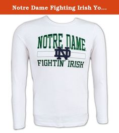 Notre Dame Fighting Irish Youth Long Sleeve TShirt - XL (18-20) - white. Get your young UND fan off to the right start with this Notre Dame shirt!.
