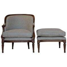 19th Century French Polished Walnut Bergère and Footstool | From a unique collection of antique and modern lounge chairs at https://www.1stdibs.com/furniture/seating/lounge-chairs/