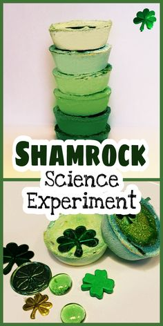 For this Shamrock Science Experiment all you need are materials from around your home - baking soda and vinegar.  I added some food colouring and special treasures too!    It is really easy to make and keeps kids happily experimenting for a long time.  I used this in my kindergarten classes as well as with my own kids at home. #stpatricksdayactivity #stpatricksday #stpatricksdayforkids #saintpatricksdaystem #stpatricksdaystem #stpatricksdayforkids #stpatricksdayactivity #familyfun #stem