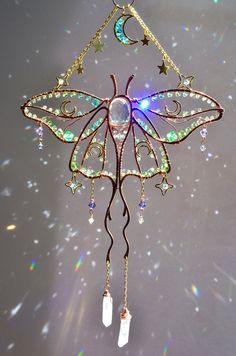 Copper And Brass, Sun Catcher, Wire Art, Art Plastique, Stars And Moon, Wind Chimes, Moth, Room Decor, Etsy