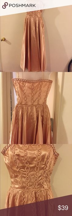 Vintage dress Peach vintage dress with a lot of detail on the bodice and around waist ,one of a kind unknown Dresses Maxi
