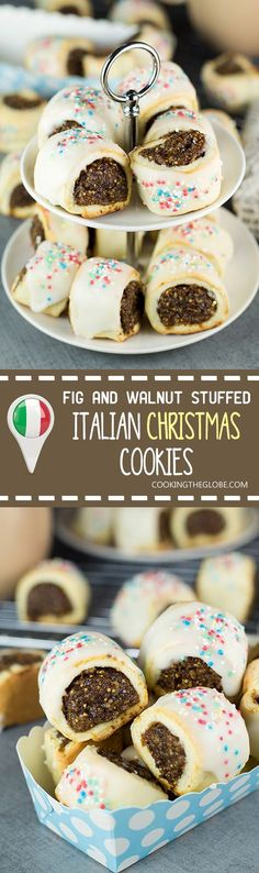 These Italian Christmas Cookies, also called Cuccidati, are filled with a mouth-watering fig and walnut mixture and topped with a sweet white icing! | cookingtheglobe.com