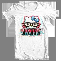 Hello Kitty nerdy  airbrushed t-shirt Adult and kid sizes. $12.00, via Etsy.