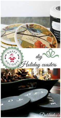 diy holiday #chalkpainted coasters.  This can be for any occasion.  They get a lot of use around the house.
