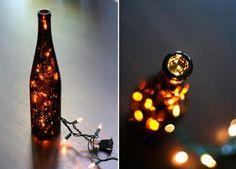 Luz dentro de garrafas