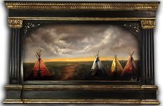 Native American Painting, Indian Teepees, Original landscape by Ryan Herrin. Now Available for sale!