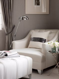 perfect master suite seating area - gores textures of shimmer and matt in soft taupe and ivory