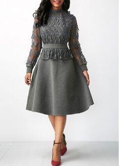 Long Sleeve Peplum Waist Patchwork Grey Dress.