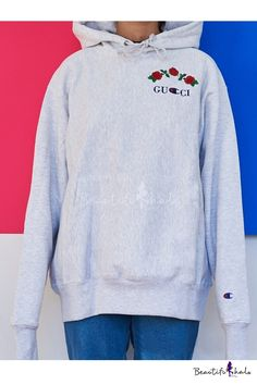 Drawstring Hooded Embroidery Letter Floral Pattern Hoodie Sweatshirt - Beautifulhalo.com