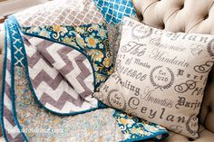 I LOVE this quilt! I love the turquoise and grey chevron. I SOOO want to make this one!!  chevronthrow2