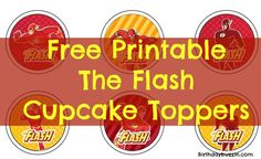To make super cupcakes for your Flash themed party, use these free printable The Flash cupcake toppers to decorate the cupcakes. Birthday Surprise Kids, Birthday Presents For Her, Birthday Party For Teens, Superhero Birthday Party, 5th Birthday, Birthday Ideas, Husband Birthday, Superhero Cupcake Toppers, Cupcake Toppers Free