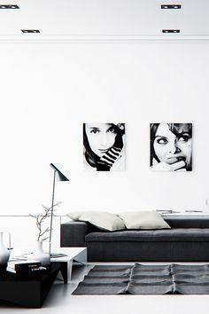 """"""" Black and White Living Room Interior """" 