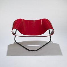 CESARE LEONARDI AND FRANCA STAGI Ribbon chair Bernini Italy, 1961 lacquered fiberglass, enameled metal 39 w x 29 d x 24 h inches