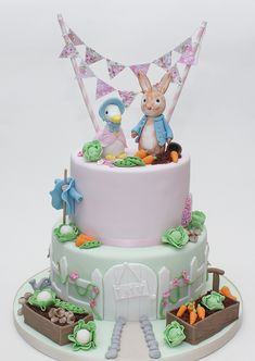 peter rabbit and jemima puddleduck cake Peter Rabbit Party, Peter Rabbit Cake, Peter Rabbit Birthday, Baby Boy Cakes, Cakes For Boys, Girl Cakes, Baby Shower Cakes, Themed Birthday Cakes, Themed Cakes