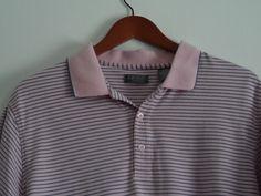 Izod Polo Shirt Mens Size Large L Pink Gray Short Sleeve 100% Cotton #IZOD #Polo