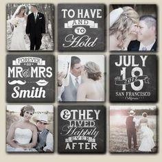 #tipvandeweek Combineer je trouwfoto's op losse canvas met tekstborden met jullie namen, trouwdatum, locatie en een mooie spreuk!