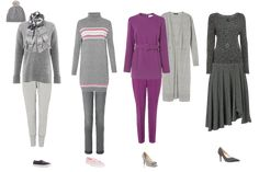 How to wear grey - mixed shades, with pink accent, grey as the accent, one shade of grey