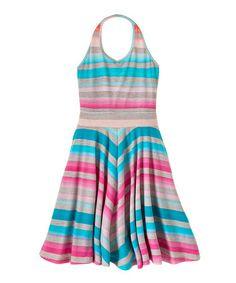 Gray & Turquoise Stripe Halter Dress - Girls #zulily #zulilyfinds
