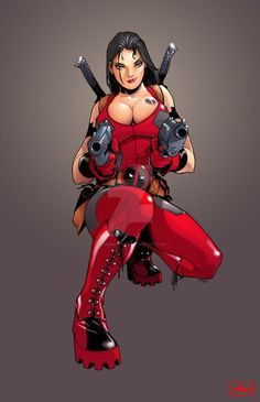 Comic Book Characters, Marvel Characters, Comic Character, Comic Books Art, Comic Art, Lady Deadpool, Deadpool Art, Female Deadpool, Heros Comics